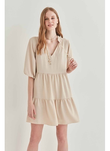Vitrin V Yaka Balon Kol Geniş Kesim Elbise Bej
